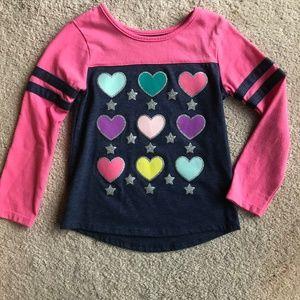 Girls Colorful Heart Long Sleeve Shirt 3T